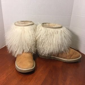 uGG Tan and Beige Suede and Sheep hair Boots